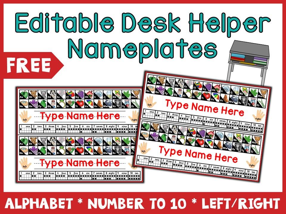 {Freebie} Editable Desk Nameplates