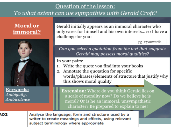 Gerald Croft An Inspector Calls - Morality and Sexual Behaviours - OUTSTANDING Observation Lesson