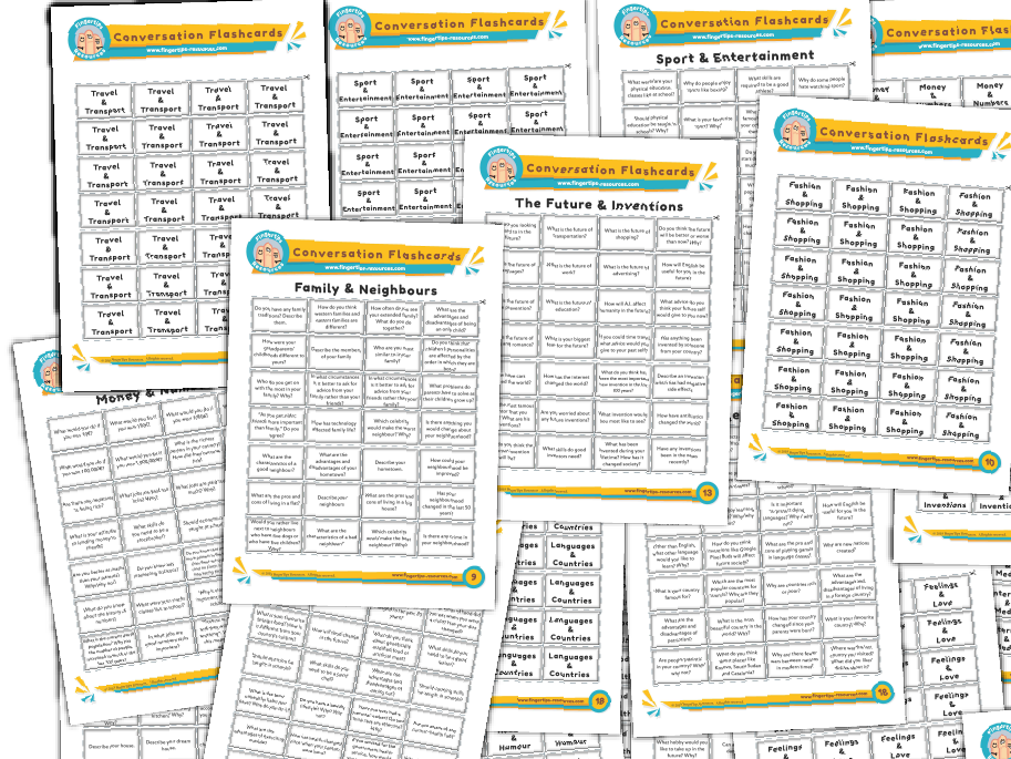 11 x ESL Conversation Flashcards Bundle (Pack 2)