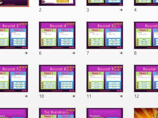 Expanding Brackets - Algebra - Two Team Quiz