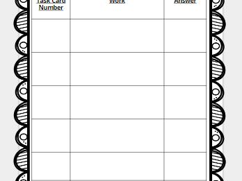 Task Card Record Sheet- Free