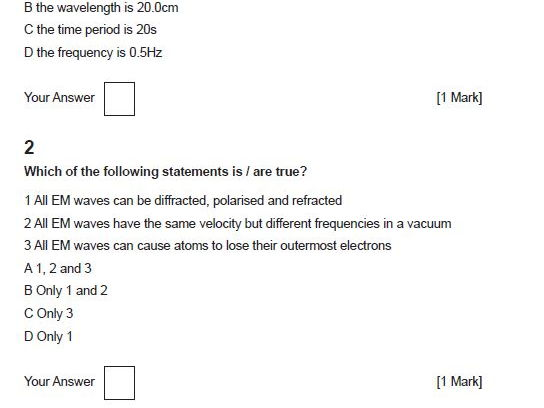 4.4 Waves OCR A Physics AS and A Level Multiple Choice Test