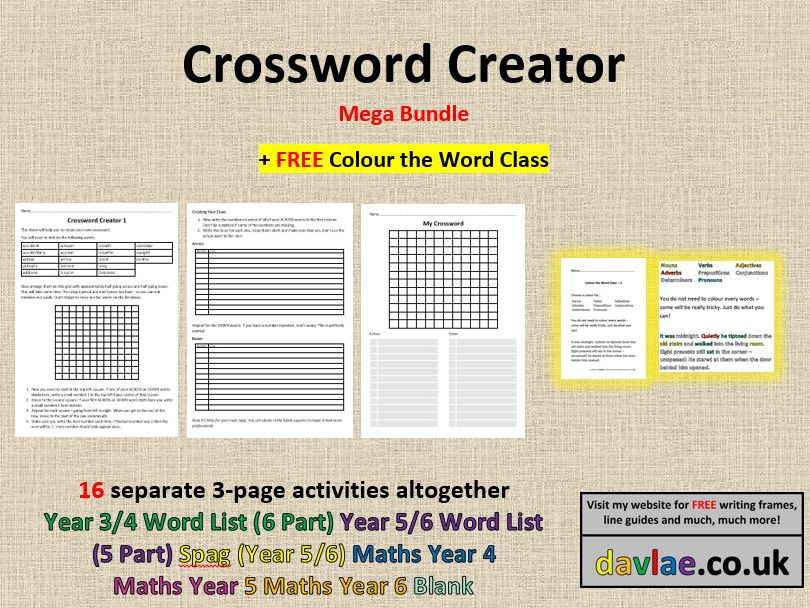 Crossword Creator Year  And  Word List By Davlae  Teaching