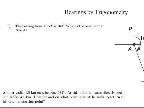GCSE Maths Revision : Bearings by Trigonometry