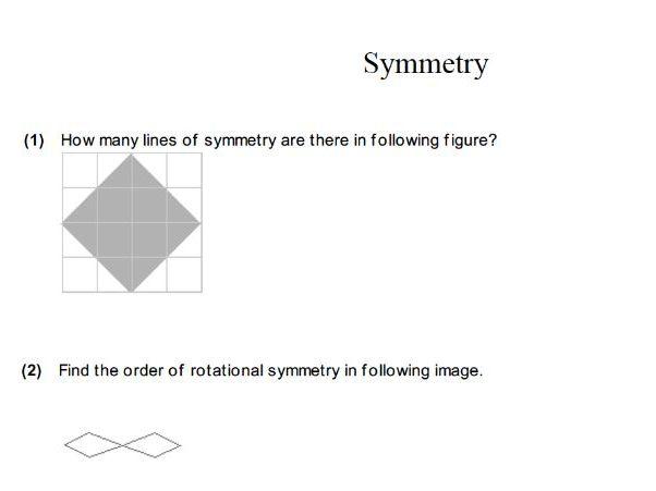 GCSE maths worksheet: symmetry