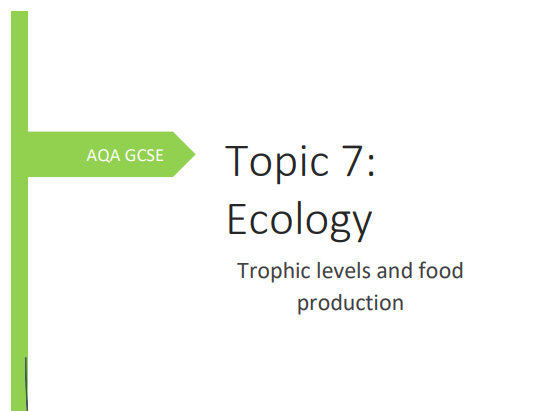 AQA GCSE Biology Topic 7 Trophic Levels & Food Production Consolidation/Revision Booklet.