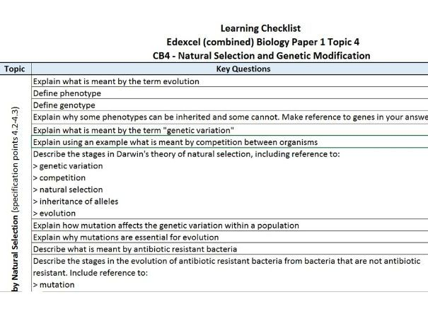 PLC / Key Question Checklist for Edexcel combined science CB4 Cells and Control