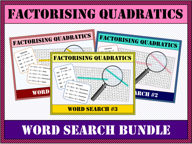 ⭐✏️ Factorising Quadratics BUNDLE Word Search #1-3 🔎⭐
