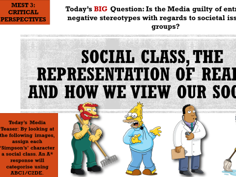 AQA MEDIA STUDIES LEGACY A2:SOCIAL CLASS, REPRESENTATION OF REALITY (IDENTITIES AND THE MEDIA) MEST3