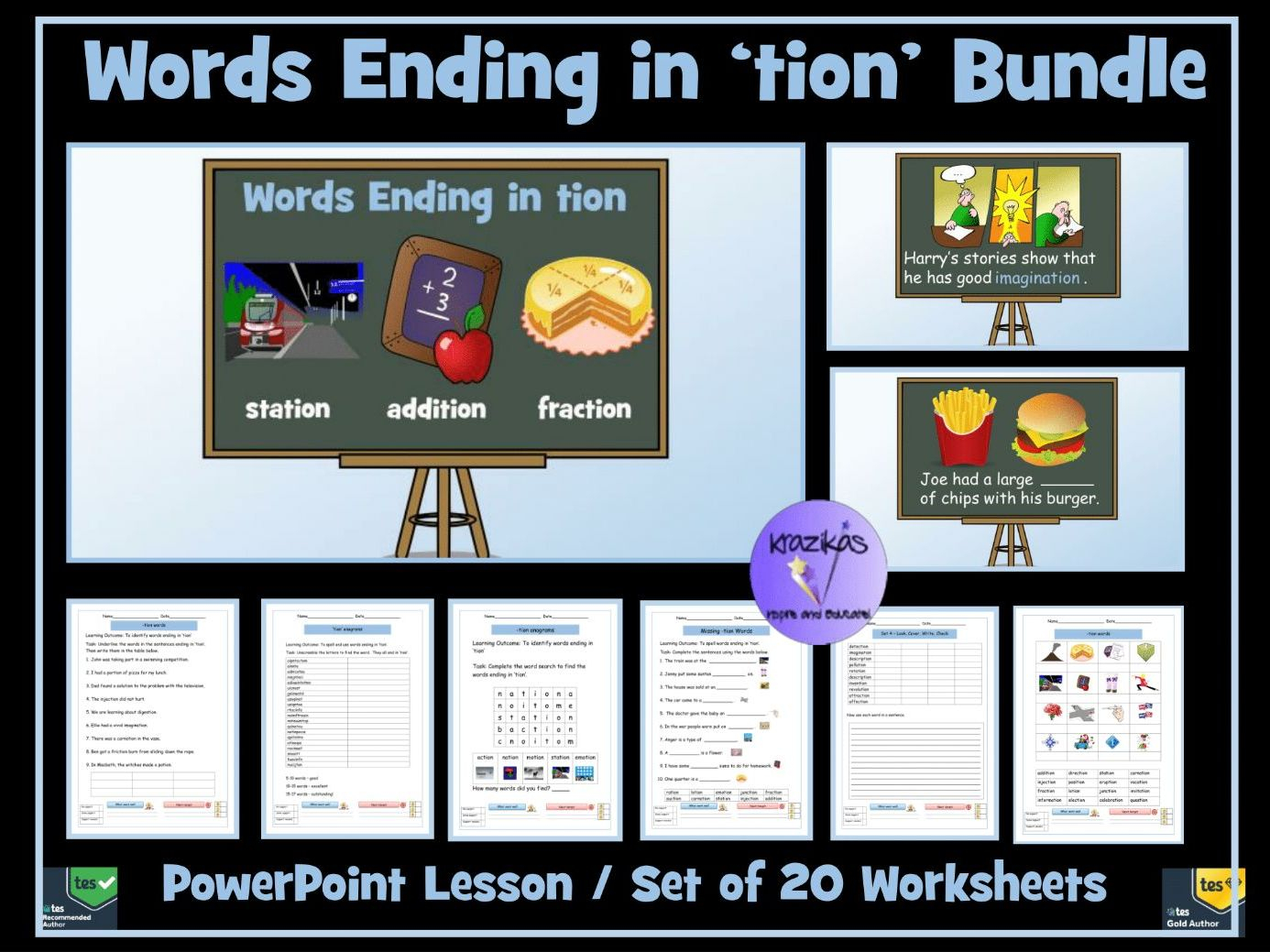 tion words: Words Ending in -tion Bundle - PowerPoint Lesson and Twenty Worksheets / Workbook