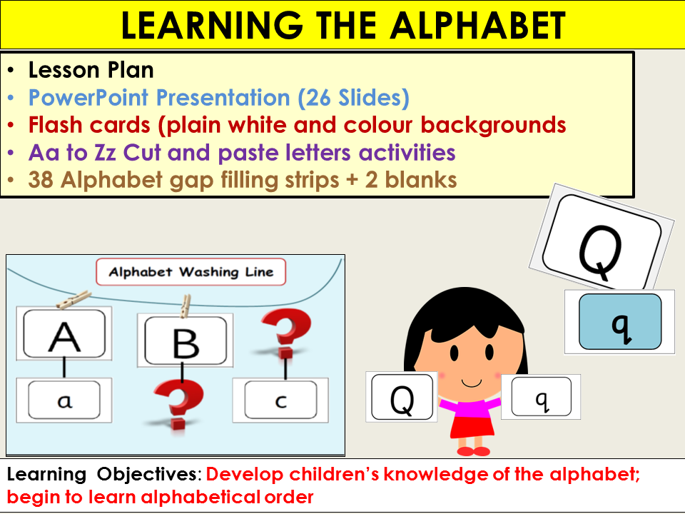 Alphabet: Presentation, Lesson Plan, Alphabet flash cards, Gap filling, Activities