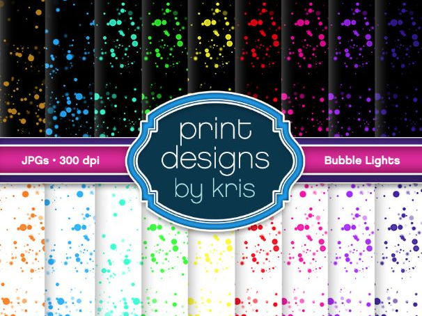 Digital Background Bubble Lights - Dark and Light - Print Designs by Kris
