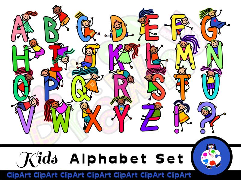 Diverse Happy Kids Alphabet ClipArt