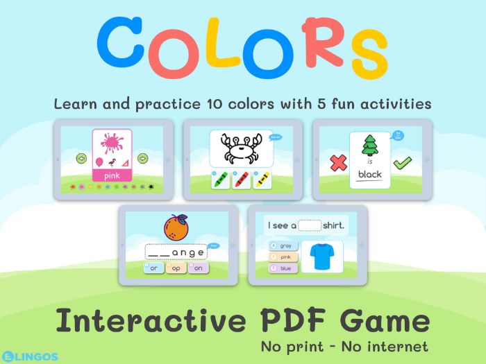 5 COLORS Interactive Games | No print - No internet needed | Learn and Practice Colors