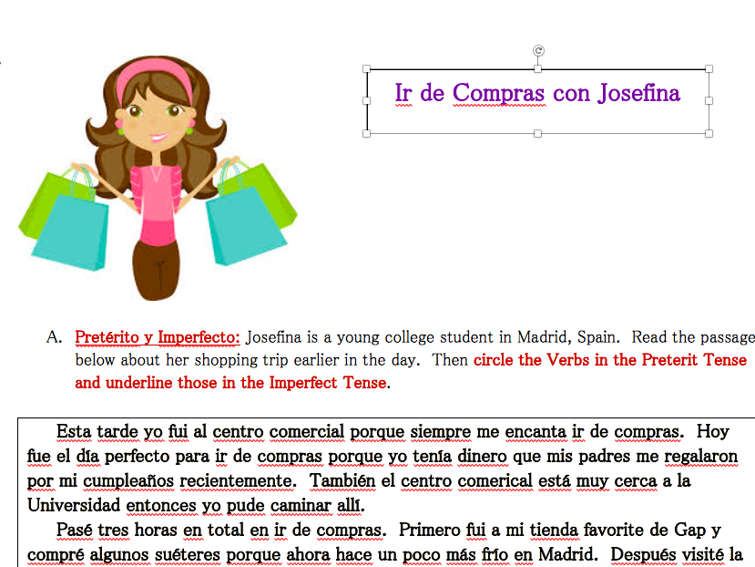 Shopping Reading Activity (Spanish)
