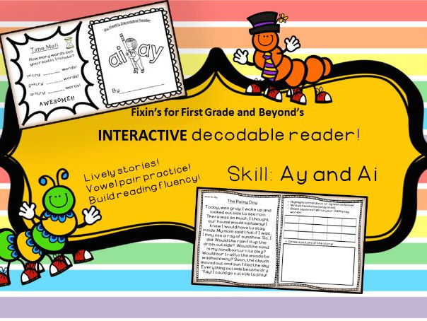Interactive Decodable Reader/Printable Booklet - ay, ai