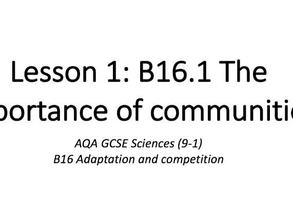 B16.1 The importance of communities