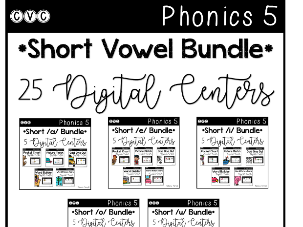 CVC Short Vowel *BUNDLE* 25 Digital Centers - Phonics (Google Classroom)