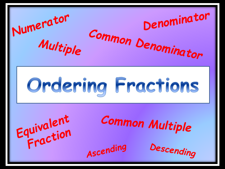 Ordering Fractions using Common Denominator