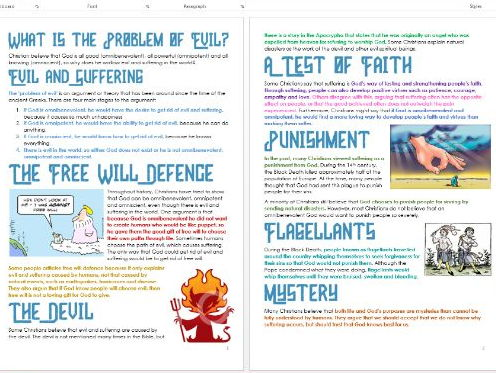 Christianity: The Problem of Evil: Differentiated Information and Activity Sheets