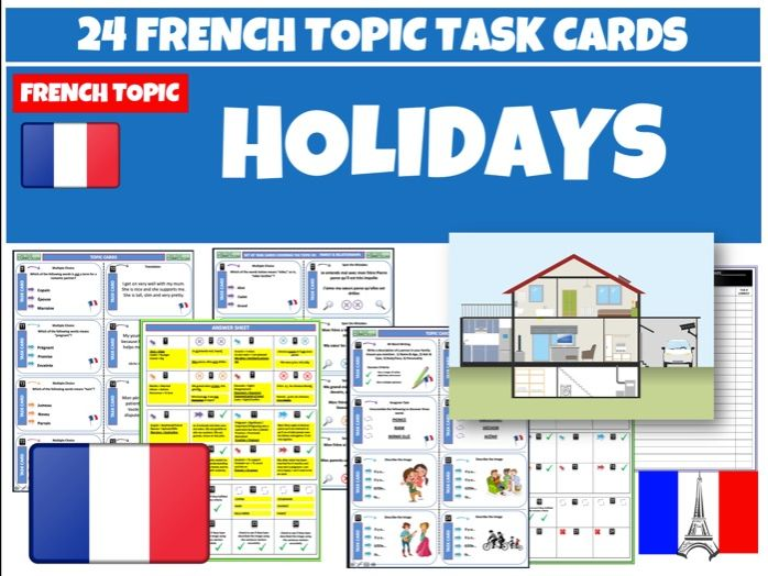 Holidays French Task Cards