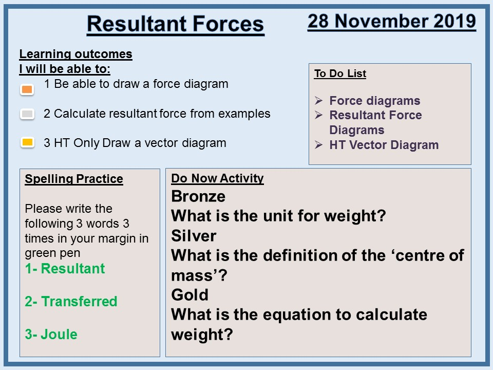 AQA P5 Forces L3 Resultant Forces and Work Done