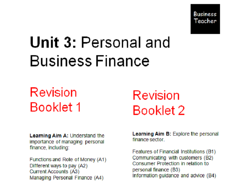 unit 3 personal and business finance