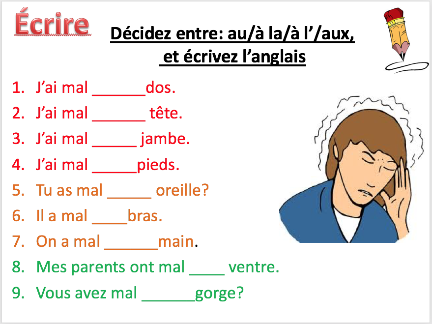 Illness: avoir mal - Expo 3 Module 3 - Differentiated lesson