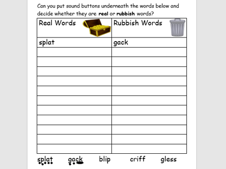 Real And Alien Rubbish Words 6 Phonics Worksheets Phase 2 3 4 And 5 Review Teaching Resources
