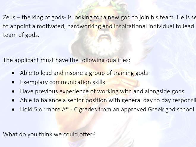 Outstanding Year 5/6 Letter of Application to become a God Lessons – Ancient Greeks
