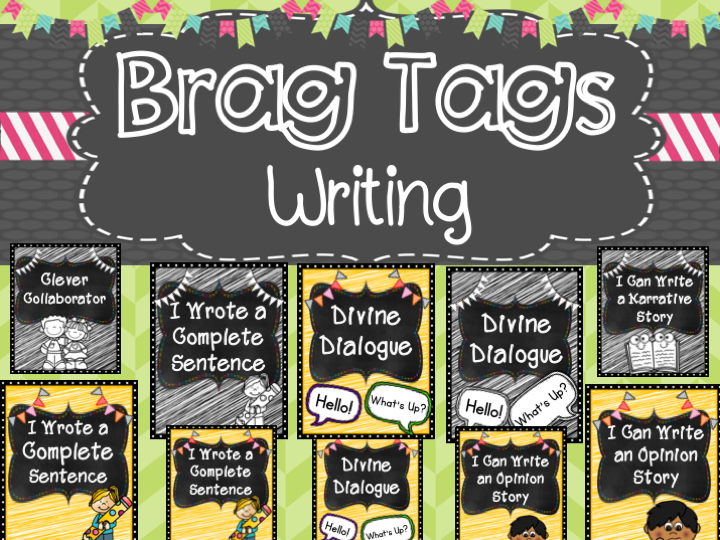 Writing Brag Tags black and white