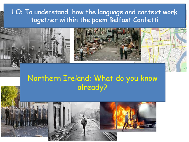 Belfast Confetti, by Ciaran Carson | Full Lesson Pack for Conflict Poetry | KS3/KS4 |