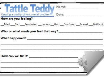 Tattle Teddy Reflection Template Sheets (Behavior Management Resource)