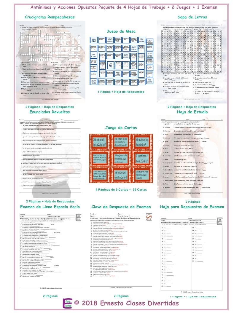 Antonyms and Opposite Actions Spanish 4 Worksheet-2 Game-1 Exam Bundle