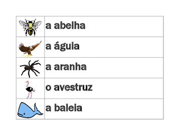 Animais (Animals in Portuguese) word wall