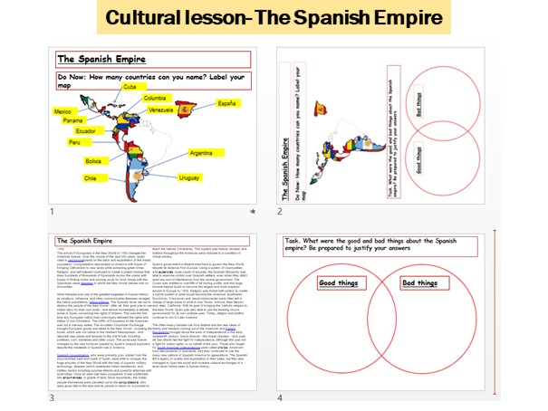 Spanish culture lessons- The Spanish Empire, Christopher Columus, Spanish speaking Countries