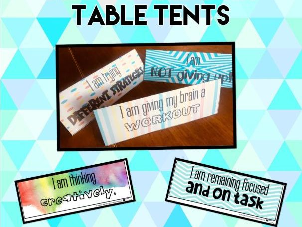 Growth Mindset Table Tents