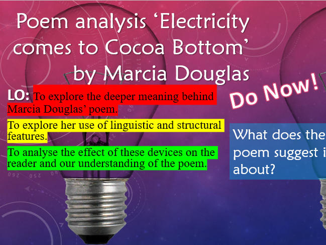 Poem Analysis - 'Electricity comes to Cocoa Bottom' by Marcia Douglas