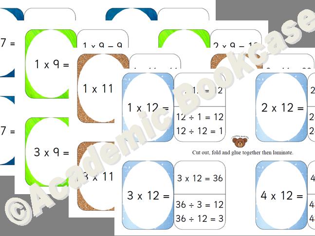 Self check flashcards - 7,9,11,12 Times Tables Bundle