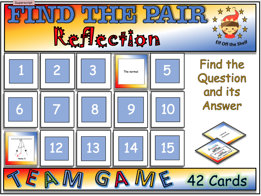 Light - Reflection in a Plane Mirror - Find the Pair Game KS3