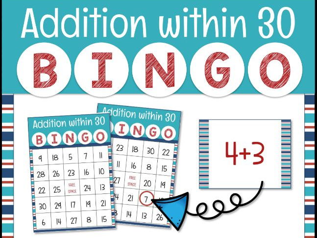 Addition Within 30 Bingo Game for Powerpoint