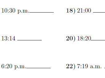 Converting between the 24 hour and 12 hour clock worksheet no 2 (with solutions)