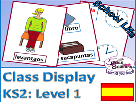 PRIMARY SPANISH DISPLAY/FLASHCARDS (KS2/3): Class items, instructions, time on the hour, register