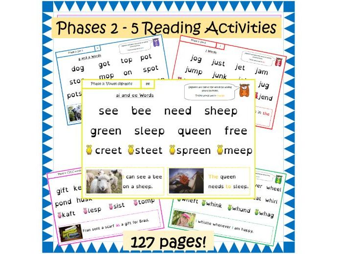 Phase 2, 3, 4 and 5 Letters and Sounds Segmenting Blending Reading