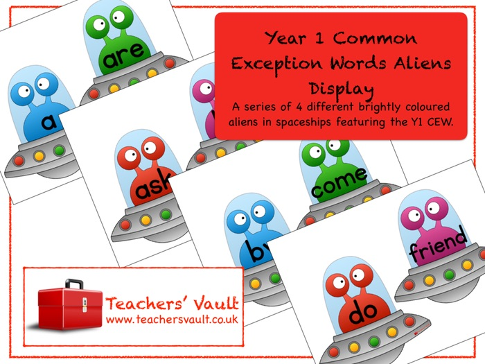 Year 1 Common Exception Words Aliens Display