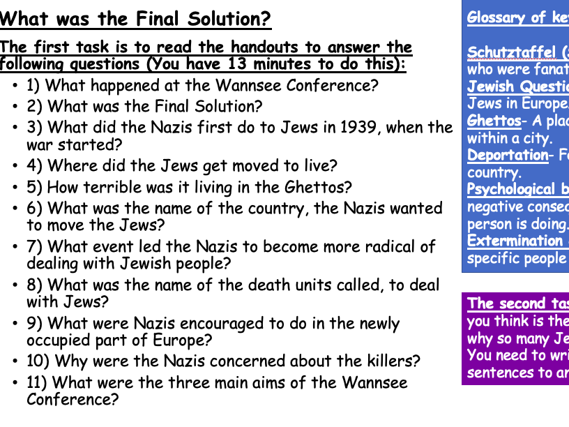 What was the Final Solution questions and scaffolded worksheets