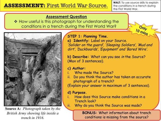 ASSESSMENT: First World War Source.