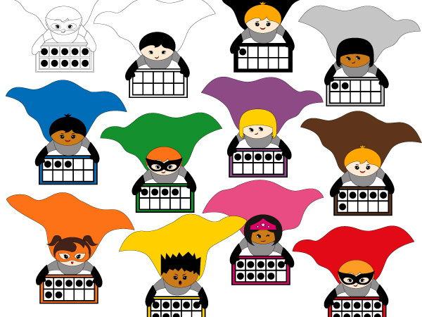 Superhero ten frames clipart - Math clip art to teach counting 0 to 10