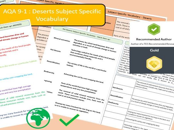 AQA 9-1 GCSE Geography - Hot Deserts , Key Vocabulary Literacy Activity Sheets.