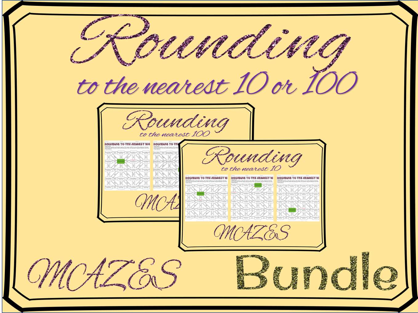 Rounding to the nearest 10 and 100 mazes bundle